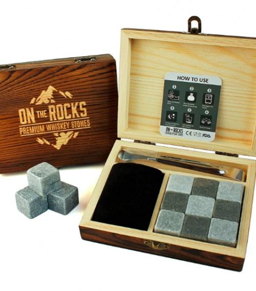 On the Rocks - Coffret pierres en granit avec pince et pochette en velour