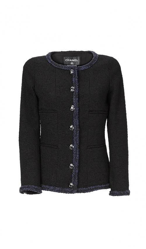 Chanel - Veste en tweed noire