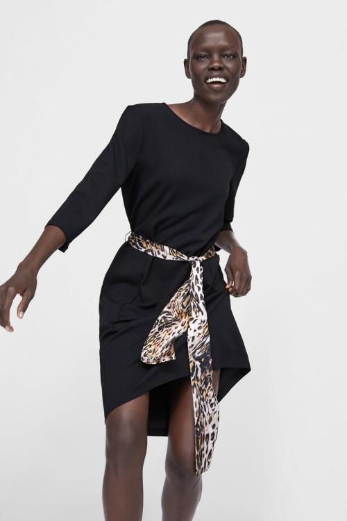 Zara - Robe avec ceinture à imprimé animalier
