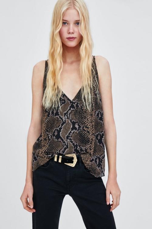 Zara - Top à imprimé serpent