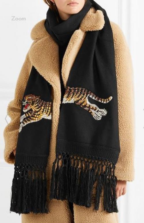 Gucci - Écharpe en laine et cachemire mélangés à cristaux