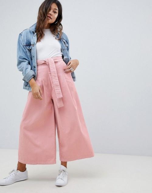 ASOS DESIGN - Pantalon ample en velours côtelé avec lien à la taille