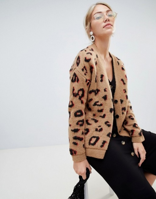 ASOS DESIGN - Cardigan épais léopard