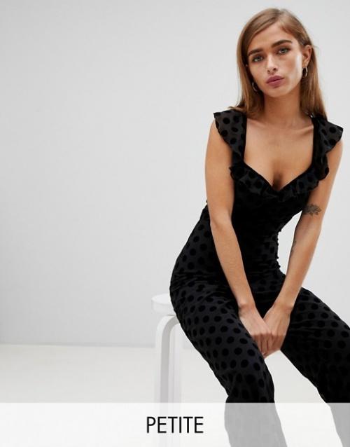 Fashion Union Petite - Combinaison à pois avec bretelles fines et manches volantées