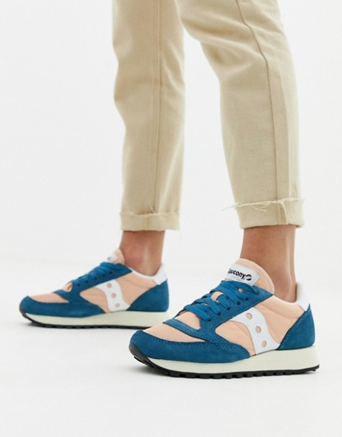 Saucony - Jazz - Baskets vintage originales - Rose et bleu