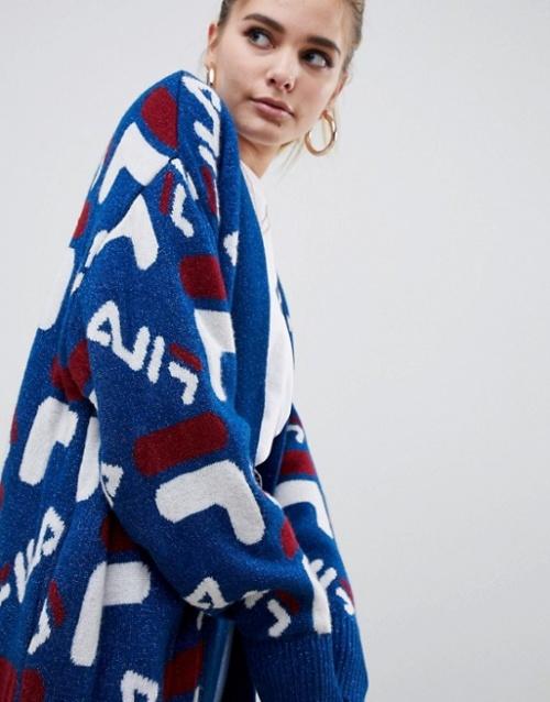 D-Antidote x Fila - Cardigan oversize en maille avec motif logo métallisé