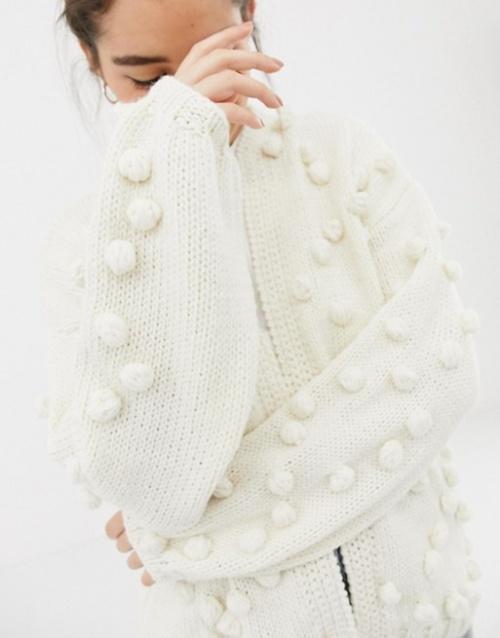 OneOn - Cardigan tricoté main à pompons