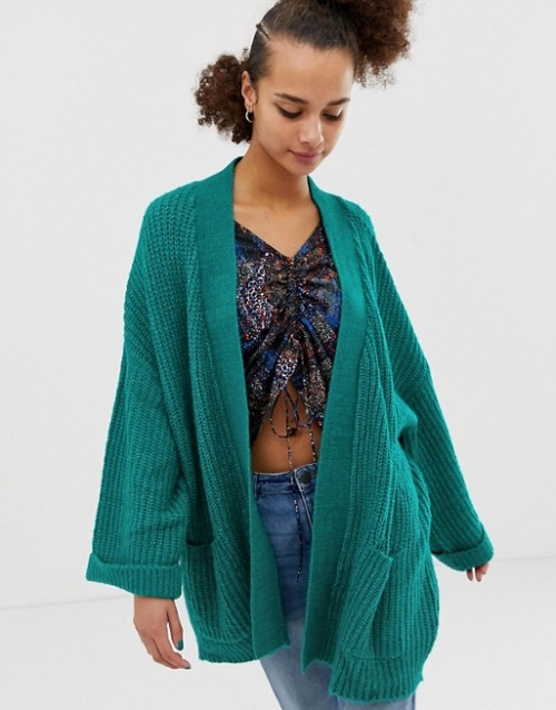 Noisy May - Cardigan en maille torsadée et à manches amples