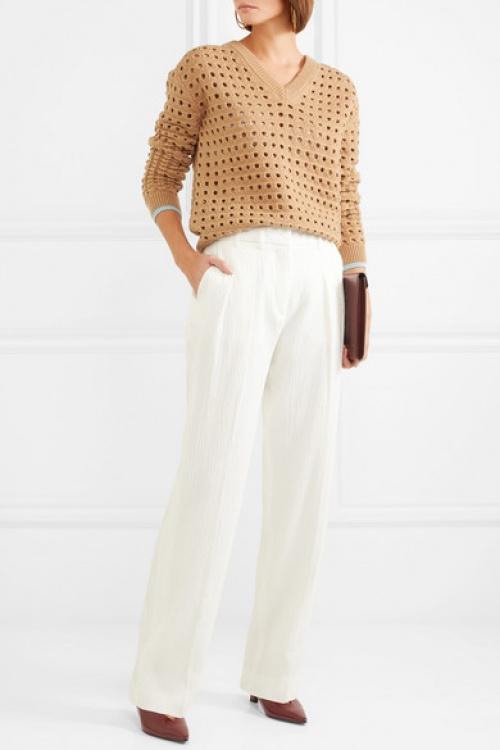 Victoria Beckham - Pantalon large en crépon plissé