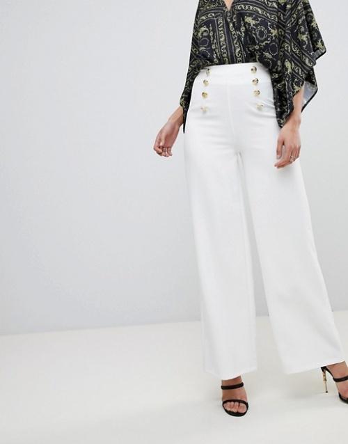 Flounce London - Pantalon large ajusté avec bouton doré