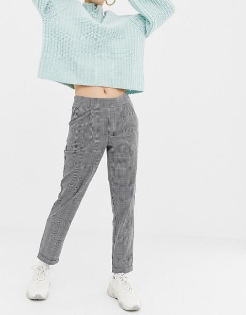 JDY - Pantalon à carreaux avec taille élastiquée