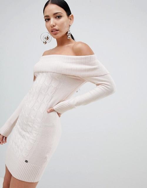 Lipsy - Robe pull en maille à torsades à épaules dénudées