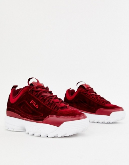 Fila - Disruptor Ii Premium - Baskets en velours - Bordeaux