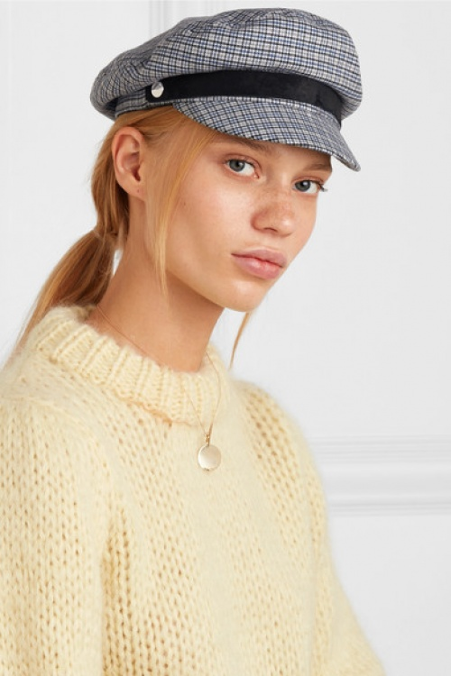 Rag & Bone - Casquette en tweed de laine mélangée à carreaux et à finitions en daim Fisherman