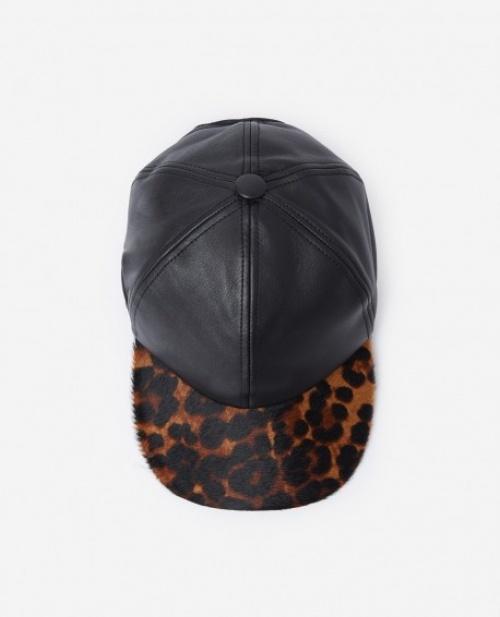 The Kooples - Casquette à visière effet poney imprimé léopard