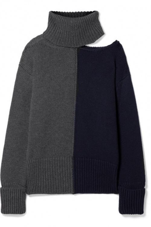 Monse - Pull à col roulé en laine bicolore à découpe