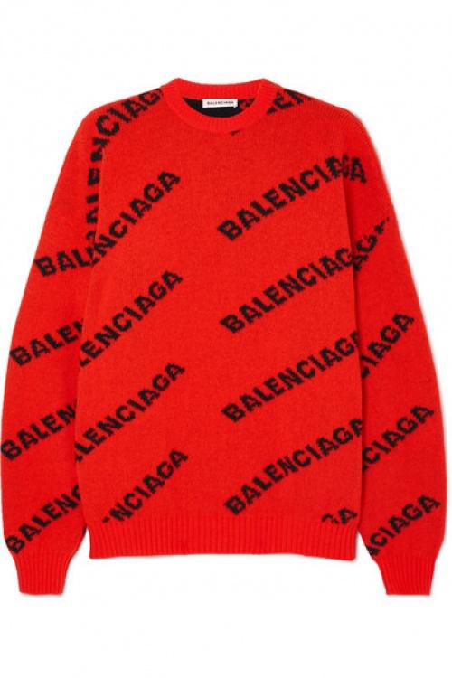 Balenciaga - Pull oversize en laine mélangée intarsia