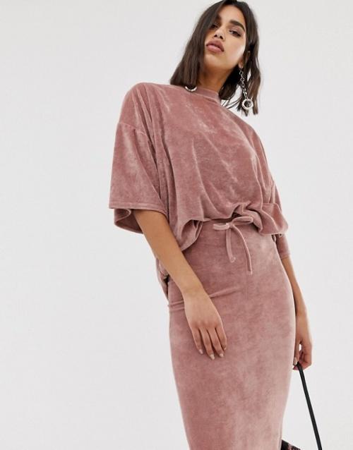 Missguided - Missguided - T-shirt oversize en velours (ensemble)