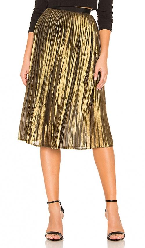 BB Dakota - Jupe mi-longue plissée dorée
