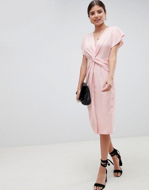 ASOS DESIGN - Robe mi-longue torsadée à manches kimono