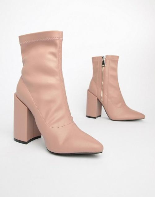 Public Desire - Renzo - Bottes effet chaussettes à talon carré