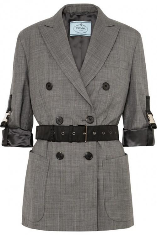 Prada - Blazer à double boutonnage en laine à carreaux et à ceinture