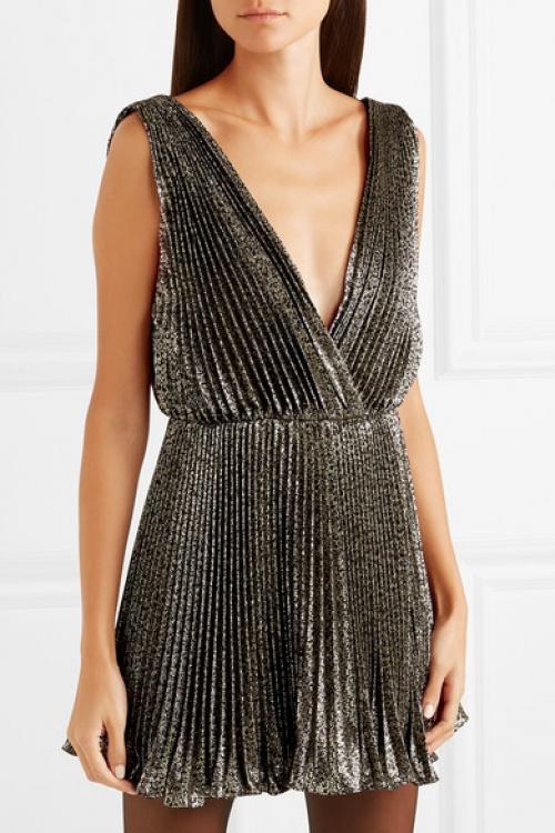 Saint-Laurent - Mini-robe en lamé plissé