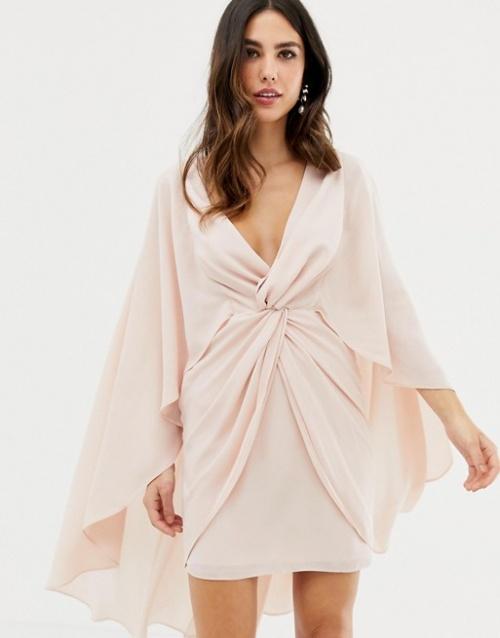 ASOS DESIGN - Robe courte nouée sur le devant avec cape