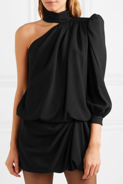 Saint-Laurent - Mini-robe asymétrique en crêpe