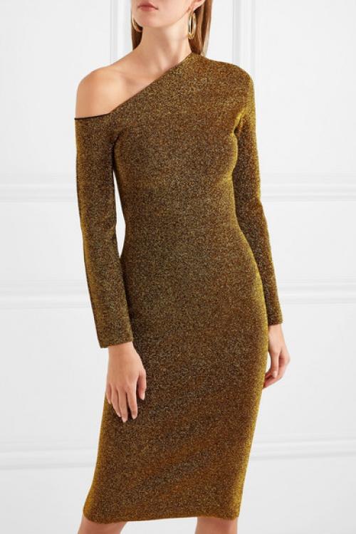 Solace London - Robe asymétrique en Lurex stretch Liva