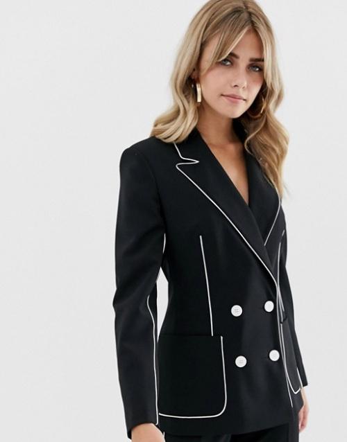ASOS DESIGN - Blazer de costume à passepoils contrastants
