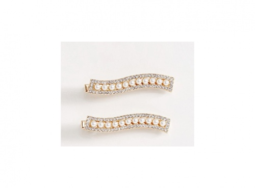 ASOS DESIGN - Lot de 2 Barrettes à Cheveux Ondulées avec Perles