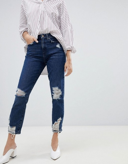 Only - Jean mom taille haute effet usé