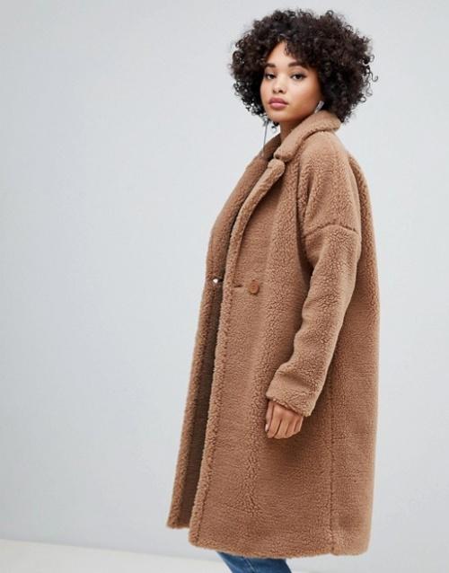Missguided - Manteau long en imitation peau de mouton
