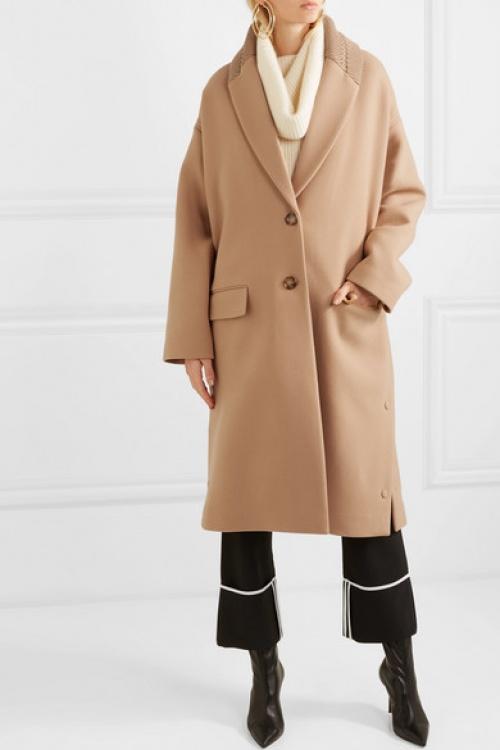Stella McCartney - Manteau en laine à finitions en mailles