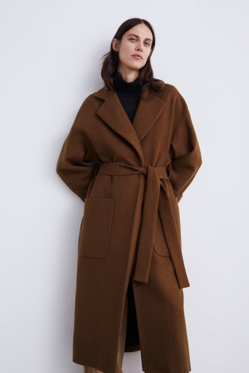 Zara - Manteau à boutonnage croisé avec ceinture