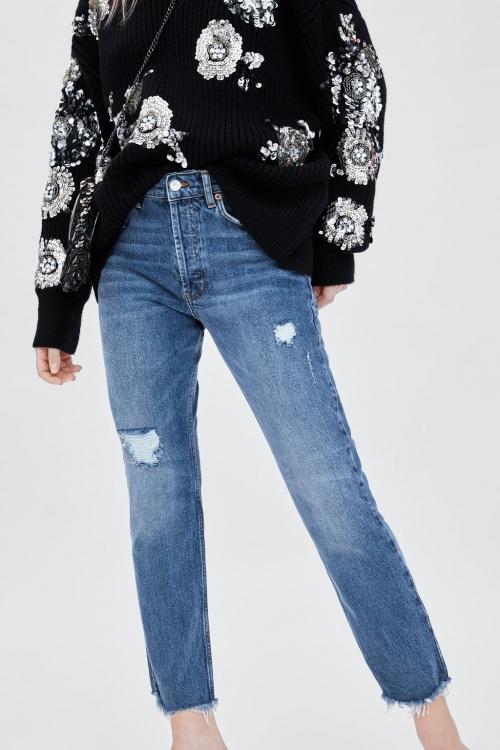 Zara - Jean taille haute normale slim souple