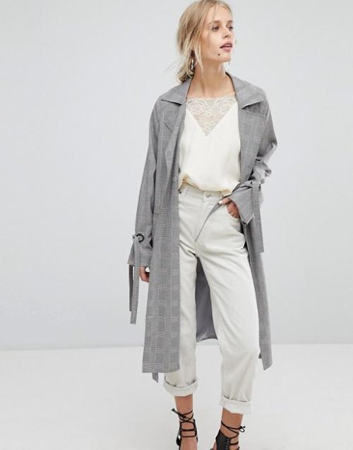 Current Air - Manteau long à carreaux avec manches nouées