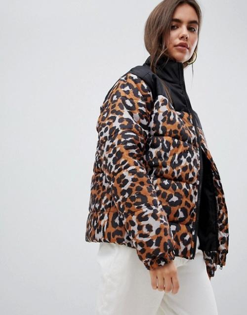 Daisy Street - Doudoune avec détail anneau et imprimé léopard