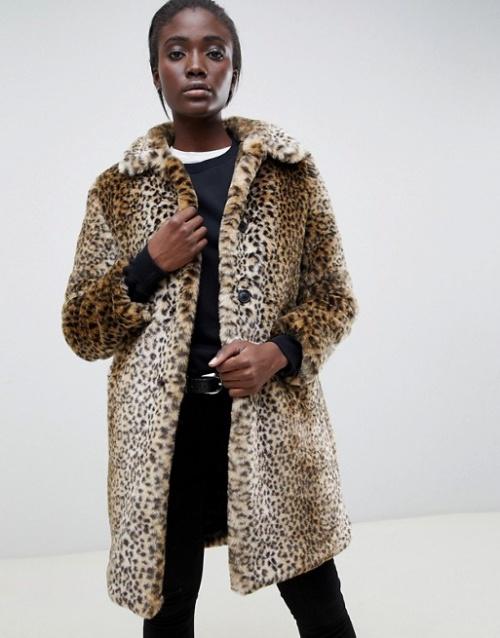 Parka Exclusive London - Manteau en fourrure synthétique effet peluche motif léopard