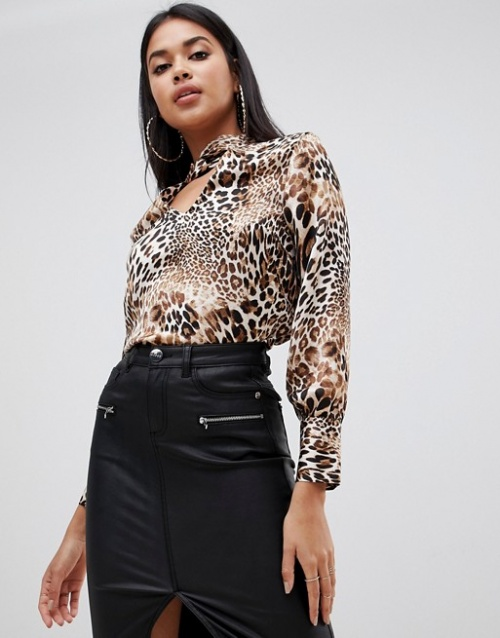 Lipsy - Blouse à imprimé léopard