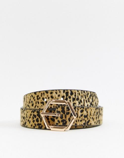 Accessorize - Ceinture pour jean à boucle hexagonale et motif léopard