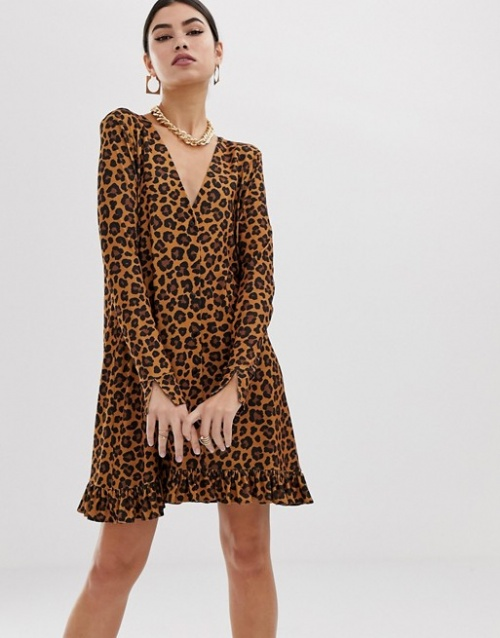 ASOS DESIGN - Robe courte boutonnée à imprimé léopard