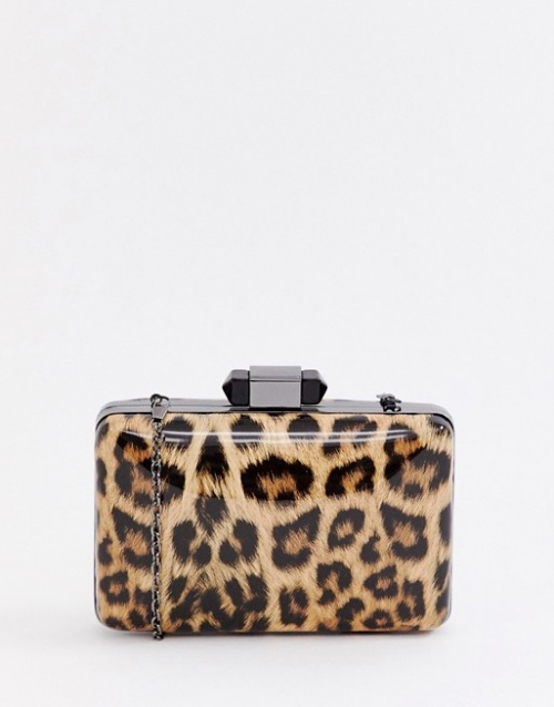 True Decadence - Pochette carrée vernie à imprimé léopard