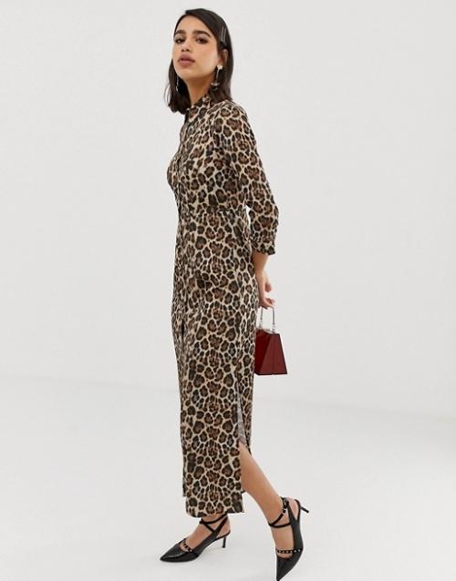 River Island - Robe chemise à imprimé léopard