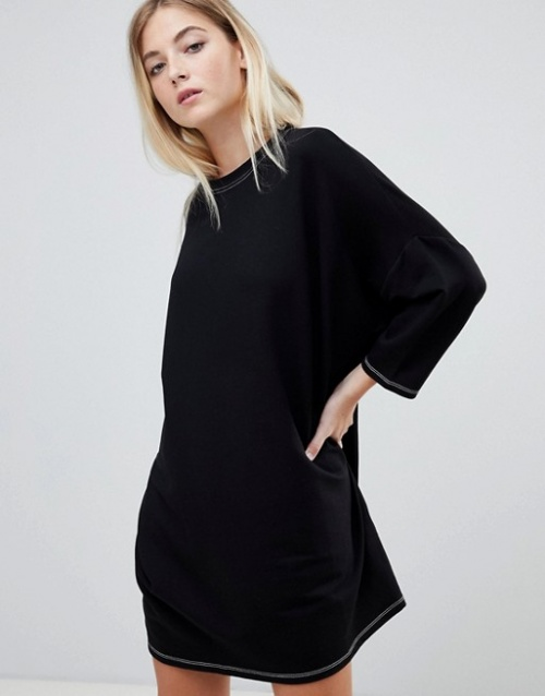 Pull&bear - Robe t-shirt oversize à coutures contrastantes