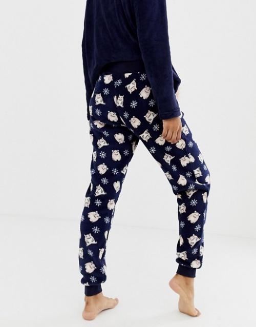 Hunkemoller - Pantalon de pyjama en polaire à motif monstre