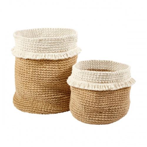 Maisons du Monde - ELIDA - 2 paniers tressés en jute et coton blanc