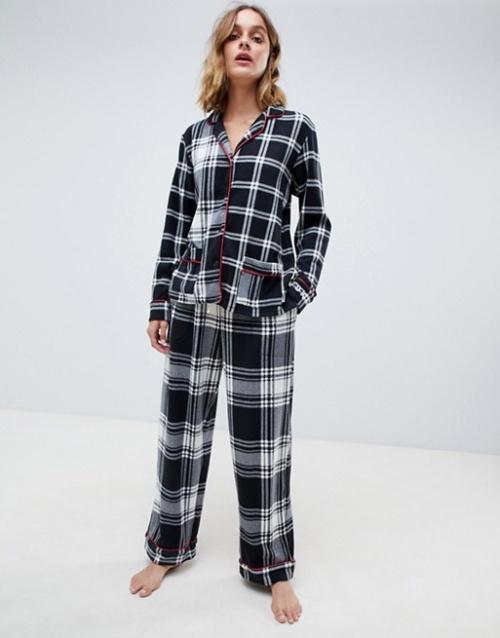 DKNY - Coffret-cadeau pyjama en polaire à carreaux écossais avec manches longues et encoche