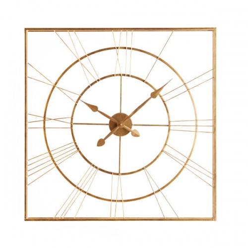 Maisons du Monde - CONSTANTIN - Horloge carrée en métal doré